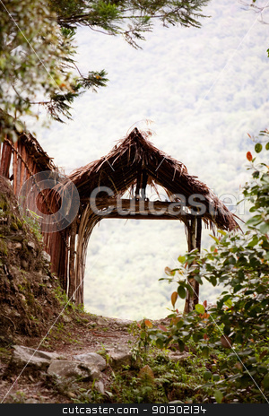 Path Gate stock photo, A tranquil garden path in the mountains by Tyler Olson