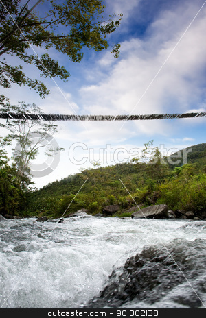 Rive and Bridge stock photo, A hanging bridge over a rapid flowing stream by Tyler Olson