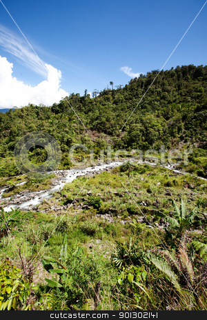 Tropical Mountain Landscape stock photo, A tropical mountain landscape in Papua, Indonesia by Tyler Olson