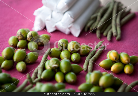 Areca Nut stock photo, Areca nut (betel nut) for sale in a market by Tyler Olson