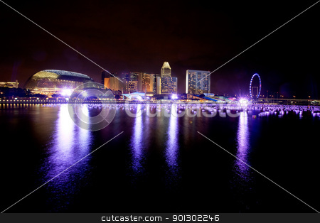 Singapore stock photo, A view of singapore at night  by Tyler Olson