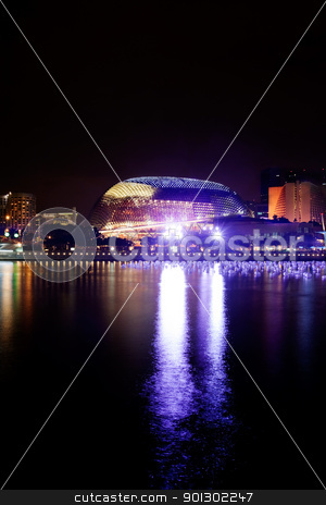 Esplanade Singapore stock photo, The Esplanade in Singapore on the river by Tyler Olson