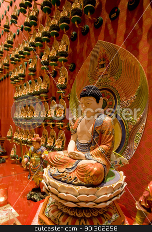 Buddha Statue stock photo, A statue of buddha in a buddhist temple by Tyler Olson