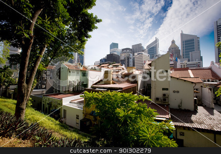 Singapore stock photo, A view of the old and new Singapore by Tyler Olson