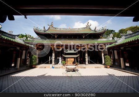 Buddhist Temple stock photo, A buddhist temple courtyard, asian architecture by Tyler Olson