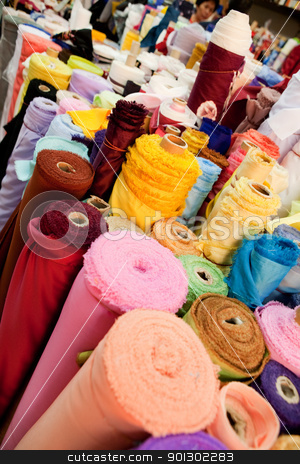 Cloth Store stock photo, Rolld of cloth at a textile store, bulk by Tyler Olson