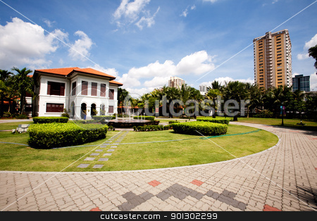 Malay Heritage Center stock photo, A white colonial style mansion - Malay Heritage Center, Singapore -  by Tyler Olson
