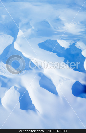 Snow Covered Mountains stock photo, An aerial shot of snow covered mountains in Northern Norway by Tyler Olson