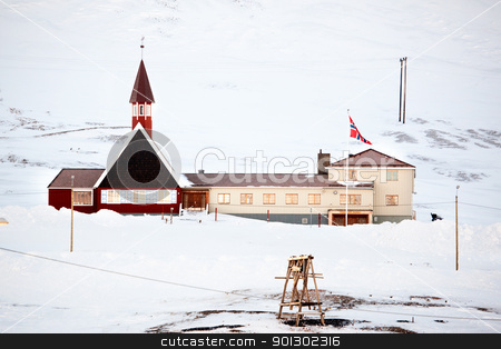 Svalbard Church stock photo, The church building in Longyearbyen, on the island of Spitsbergen, Svalbard, Norway by Tyler Olson