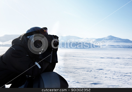 Winter Adventure Guide stock photo, A winter adventure guide looking out on the horizon by Tyler Olson