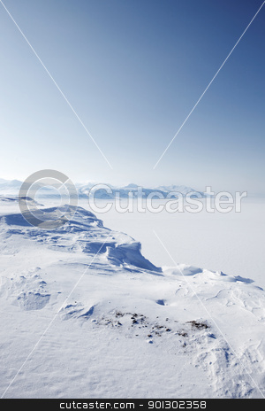 Winter Snow Wilderness stock photo, A wilderness landscape from the island of Spitsbergen, Svalbard, Norway by Tyler Olson