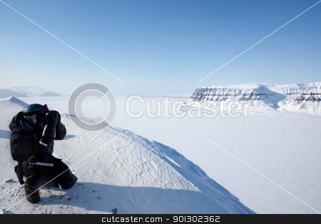Wilderness Guide stock photo, A winter wilderness adventure guide.  Spitsbergen, Svalbard, Norway by Tyler Olson