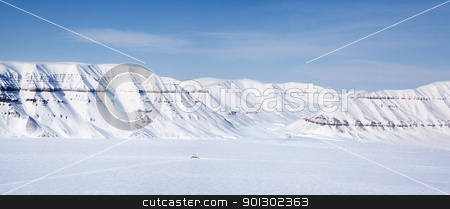 Svalbard Panorama stock photo, A panorama landscape on Spitsbergen Island, Svalbard, Norway by Tyler Olson