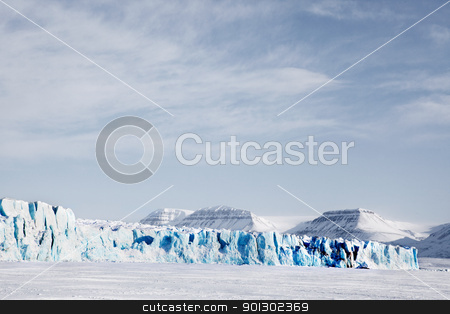 Glacier Landscape stock photo, A glacier landscape during winter on the island of Spitsbergen, Svalbard, Norway by Tyler Olson