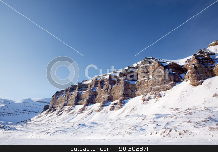 Mountain Winter Landscape stock photo, A panorama landscape on Spitsbergen Island, Svalbard, Norway by Tyler Olson