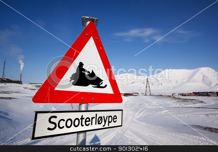 Svalbard Detail stock photo, A sign for a snowmobile trail in Longyearbyen, Spitsbergen, Svalbard, Norway by Tyler Olson