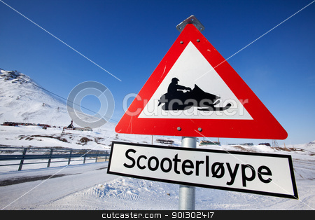 Snowmobile Trail stock photo, A sign for a snowmobile trail in Longyearbyen, Spitsbergen, Svalbard, Norway by Tyler Olson
