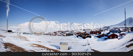 Longyearbyen stock photo, Longyearbyen on the island of Spitsbergen, Norway.  The northern most town in the world. by Tyler Olson