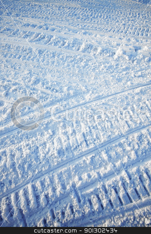 Snow Texture stock photo, A snow texture created on a snowmobile road by Tyler Olson