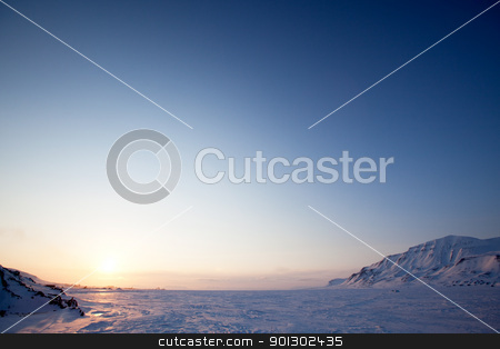 Winter Lake Landscape stock photo, A landscape on the island of Spitsbergen, Svalbard, Norway late at night. View from Longyearbyen. by Tyler Olson
