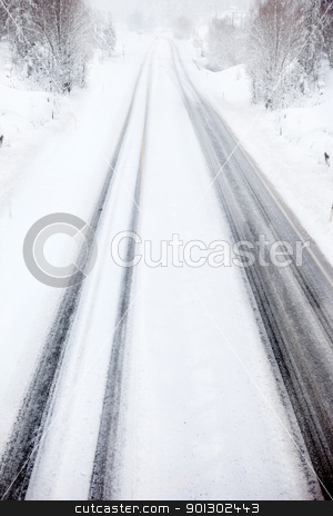 Billzard on Road stock photo, A car travelling in a snow storm by Tyler Olson