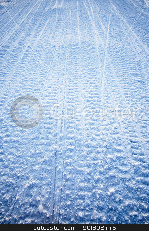 Snowmobile Texture stock photo, Snow texture background from snowmobile tracks by Tyler Olson