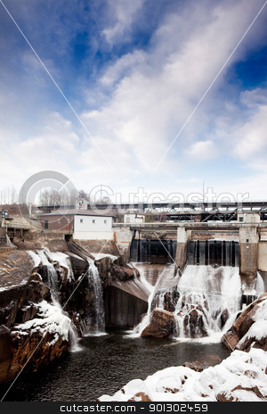 Hydro Dam Winter stock photo, A hydro electric dam in the winter by Tyler Olson