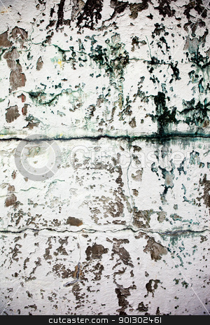 Weathered Wall stock photo, An old wall texture, grunge white paint by Tyler Olson