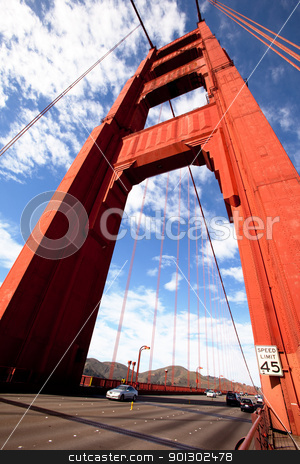Gold Gate Bridge stock photo, A detail of one of the Golden Gate Bridge towers. by Tyler Olson