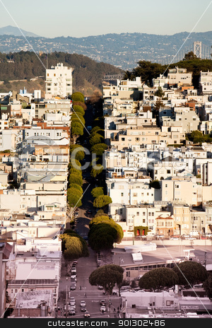 Russian Hill San Francisco stock photo, Russian Hill, San Franciso taken from a high vantage point on Lombard and Hyde street by Tyler Olson