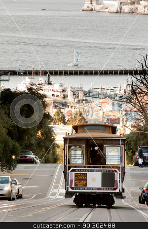 San Francisco Cable Car stock photo, A San Francisco cable car desending down Hyde Street by Tyler Olson