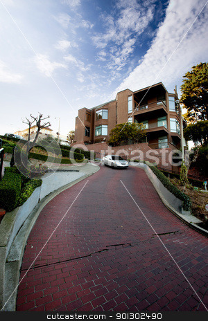 Lombard Street stock photo, Lombard Street, San Francisco a tight street of switch backs by Tyler Olson