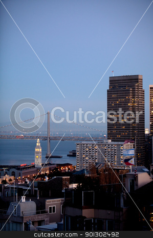 San Francisco Cityscape stock photo, An evening cityscape of San Fracisco by Tyler Olson