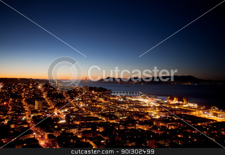 San Francisco stock photo, San Francisco evening skyline with the Golden Gate Bridge on the horizon by Tyler Olson