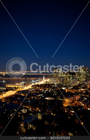 San Francisco Cityscape stock photo, Oakland Bridge and the Embarcadero in San Francisco by Tyler Olson