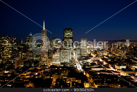 San Francisco stock photo, Night cityscape of San Francisco business district by Tyler Olson