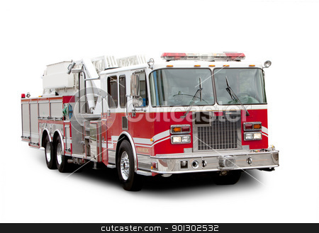 Fire Truck stock photo, A red fire truck isolated on white with a shadow by Tyler Olson
