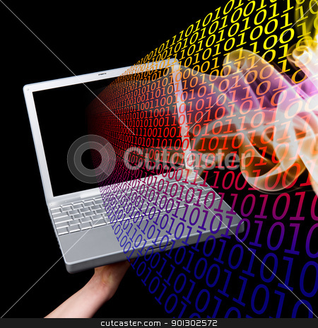 Computer Information stock photo, A computer with binary code coming out of it by Tyler Olson