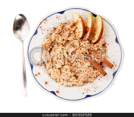 Porridge stock photo, A bowl of porridge with apple and cinnamon spices isolated on white by Tyler Olson