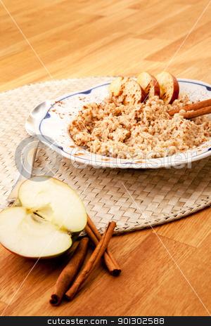 Apple Cinnamon Porridge stock photo, Apple Cinnamon Porridge - shallow depth of field with focus on the bowl by Tyler Olson