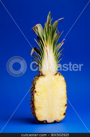 Pineapple stock photo, Half of a pineapple isolated on blue by Tyler Olson
