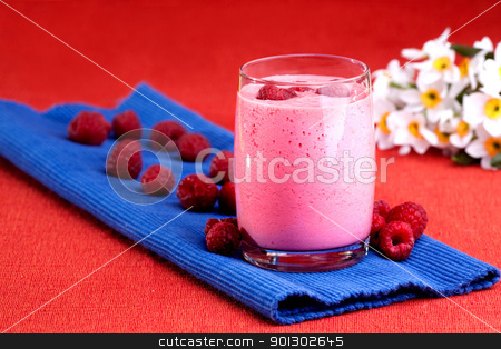 Raspberry Drink stock photo, A cool raspberry smoothie detail by Tyler Olson