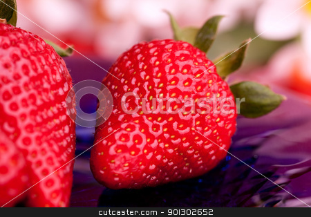 Strawberry Outdoor stock photo, A strawberry on a plate in an outdoor setting by Tyler Olson