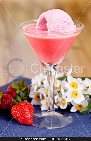 Strawberry Ice Cream Smoothie stock photo, A summer treat - strawberry ice cream smoothie by Tyler Olson