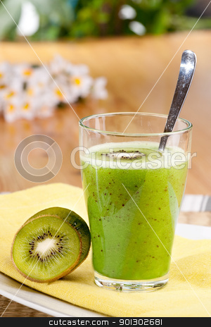 Kiwi Fruit Drink stock photo, A tasty kiwi smoothie in a natural setting by Tyler Olson