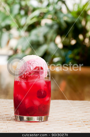Raspberry Float stock photo, A raspberry float in an outdoor setting by Tyler Olson