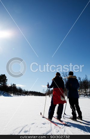 Winter Ski Holiday stock photo, Two women in a winter landscape cross country skiing by Tyler Olson