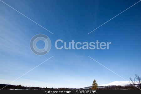 Sky Background stock photo, Sky Background, Designers tool - A clear blue sky with slight wisps of clouds by Tyler Olson
