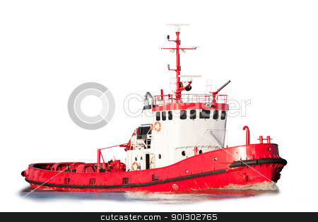 Isolated Tug Boat stock photo, An isolated tug boat equipped with saftey equipment by Tyler Olson
