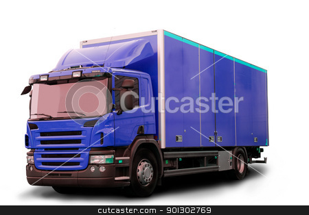 Isolated Tractor Truck stock photo, A blue tractor truck isolated on white by Tyler Olson